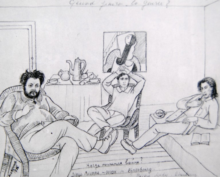 Marie Vorobieff, Diego Rivera, Modigliani and Ehrenbourg in the atelier of Diego Rivera in Rue du Départ, Paris in 1916 (1916) © WikiCommons