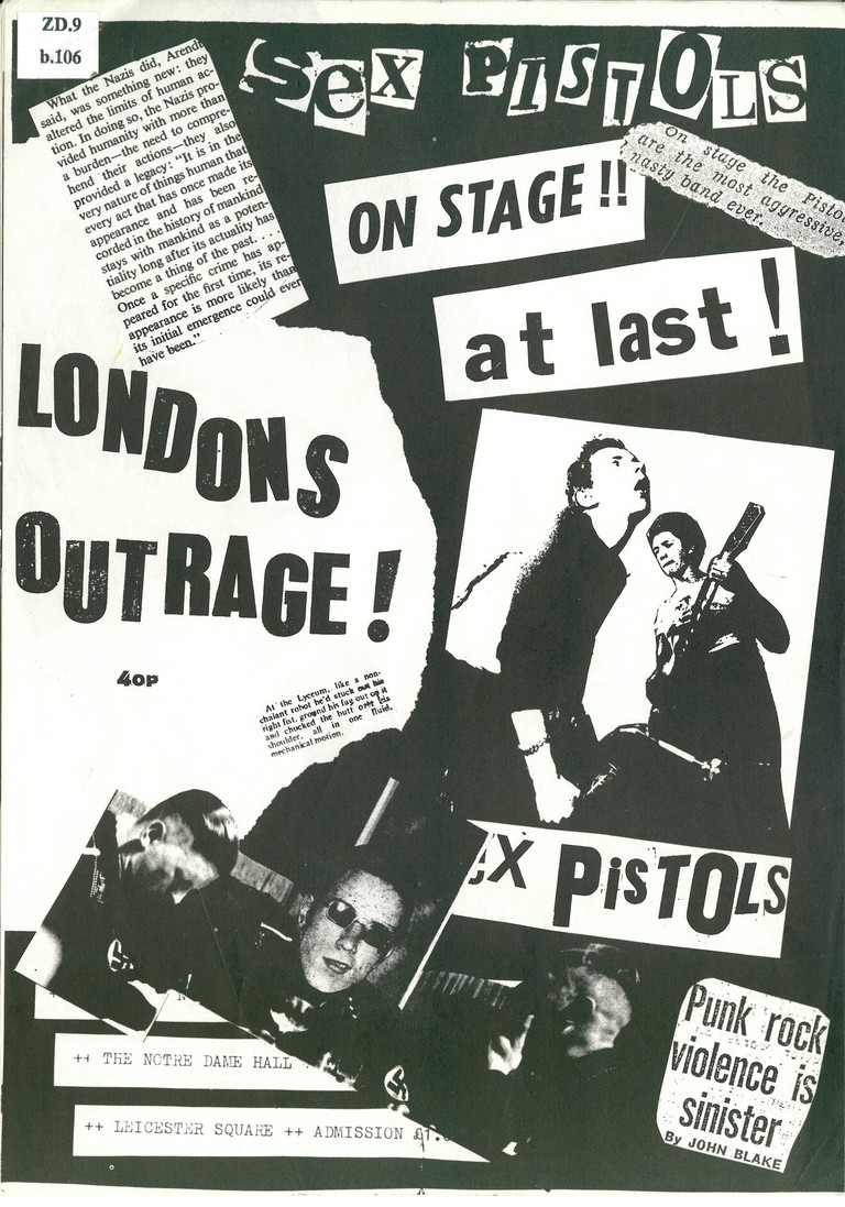 London's Outrage fanzine (December 1976) by Jon Savage on display at Punk 1976-78 at the British Library | Courtesy of British Library