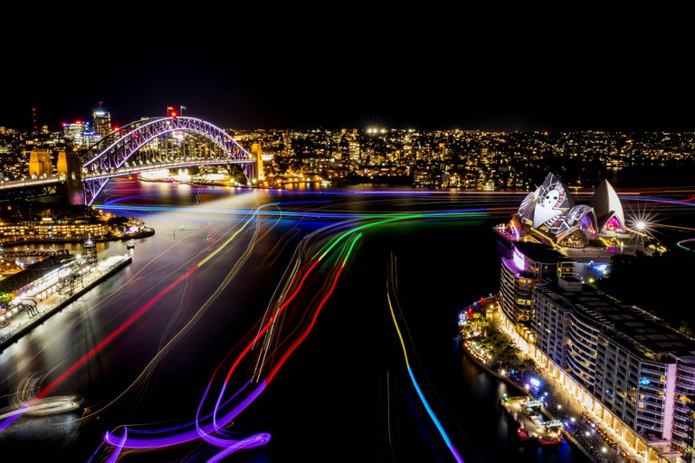 Vivid Sydney 2016, opening night, Clr Quay, Harbour Lights. | © James Horan, NSW