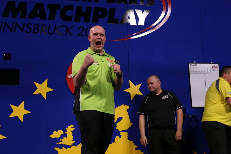 World no.1 Michael Van Gerwen celebrates at the World Matchplay © PDC Europe/Flickr
