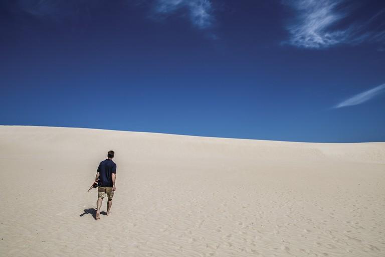 Sandboarding at Little Sahara, Kangaroo Island, SA   Courtesy of Tourism Australia © Greg Snell