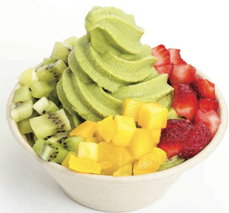 Green Tea Tranquility with fruit toppings (credit: Yoga-urt)