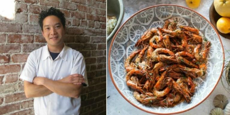 Chef Bryant Ng (credit: Kim Luu-Ng) and Vietnamese Sunbathing Prawns (credit: Rick Poon)