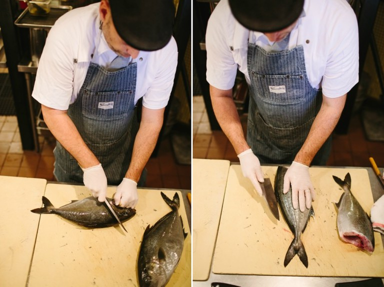 Chef Steve Samson preparing Whole Grilled Orata (credit: Mary Costa)