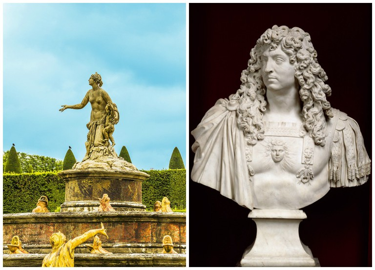 Latona Fountain, Palace of Versailles | © Kiev.Victor / Shutterstock.com // Bust of Louis XIV 1665–66 marble on loan from the Palace of Versailles | Courtesy of Château de Versailles, Dist. RMN-Grand Palais / Franck Raux