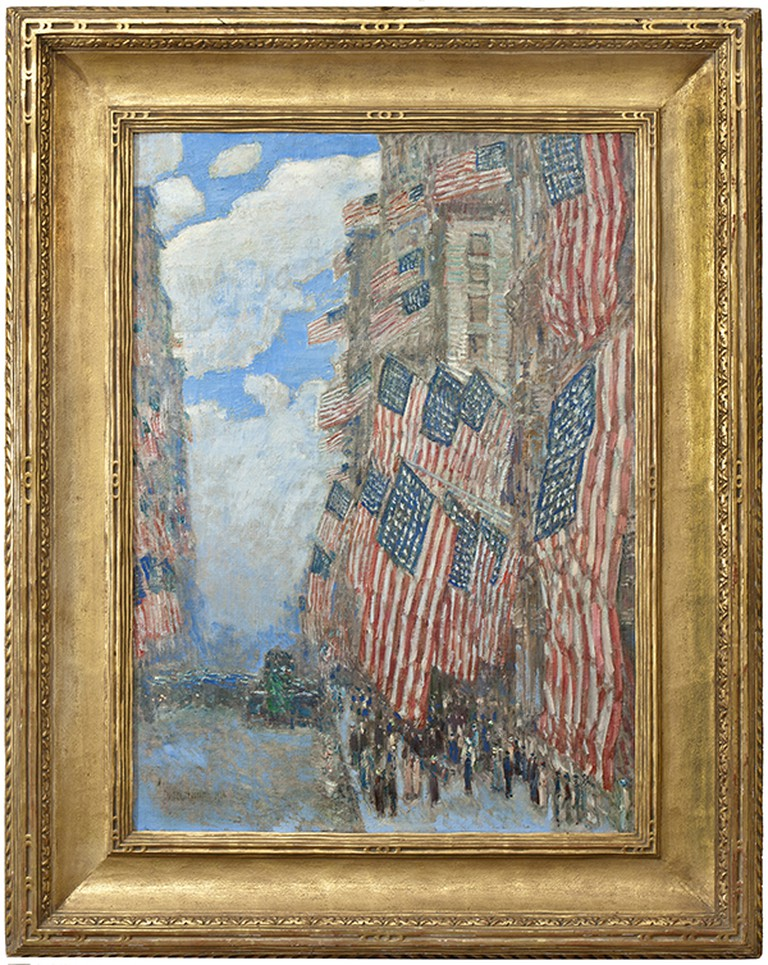 Childe Hassam. The Fourth of July, 1916 (The Greatest Display of the American Flag Ever Seen in New York, Climax of the Preparedness Parade in May), 1916. Oil on canvas, 36 x 26 1/8 in. Photography, Glenn Castellano. Courtesy of New-York Historical Society.