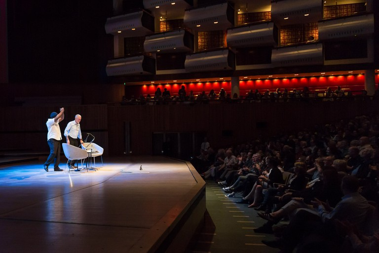 Ben Okri and Jeremy Corbyn on stage at the Southbank's Royal Festival Hall|©Adam Weatherley/Southbank Centre