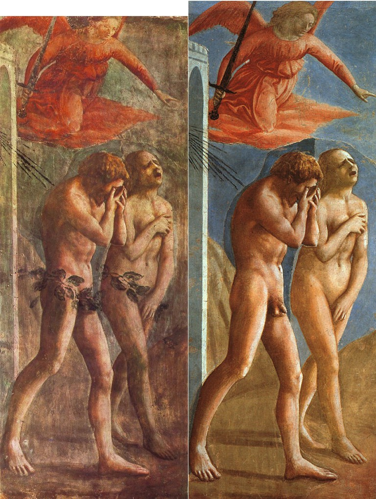 Masaccio, Expulsion from the Garden of Eden (before and after restoration), 1425 | © Cappella Brancacci/WikiCommons