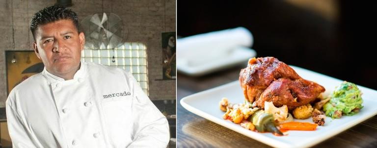 Chef Jose Acevedo and the carnitas (credit: Mercado)