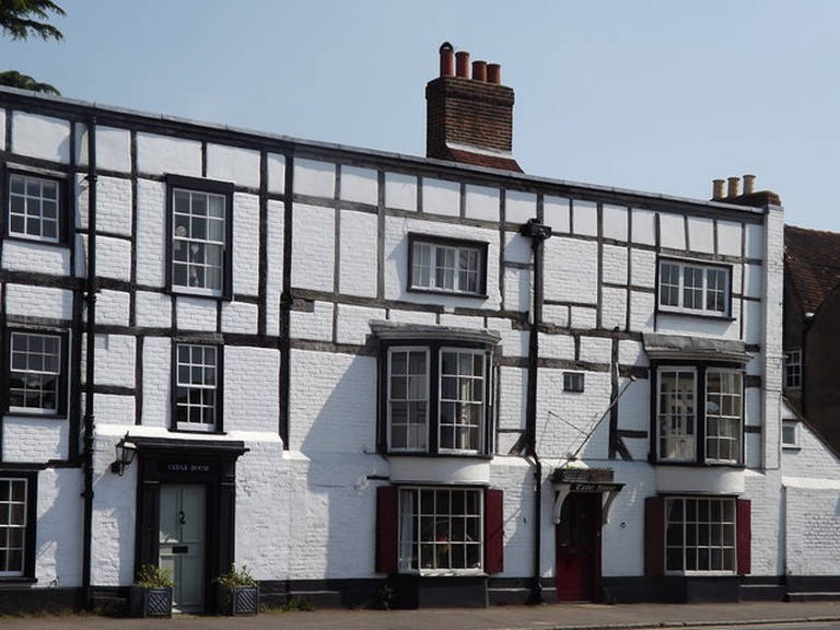 Timber-framed buildings on Ripley's main road, once part of The George Inn|©Colin Smith/Geograph.org