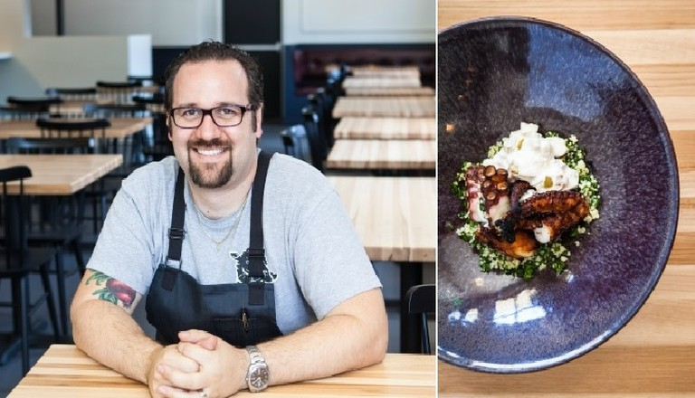 Chef Ted Hopson and the Charred Octopus (credit: Mary Buck Photography)