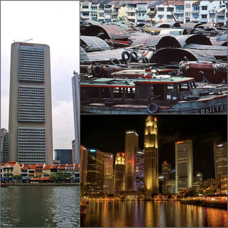 CBD in Singapore © Sue/Flickr   1979 at Boat Quay © Nick/Flickr   Boat Quay skyline © Mike Cartmell/Flickr
