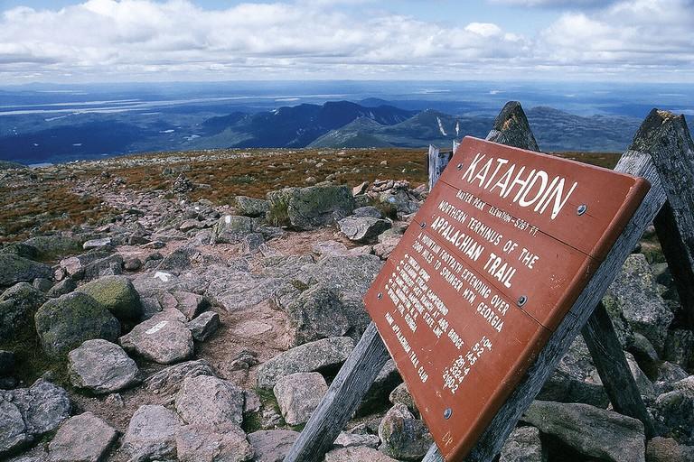 Northern terminus of the trail atop Mount Katahdin in Maine   © kworth30/Wikicommons