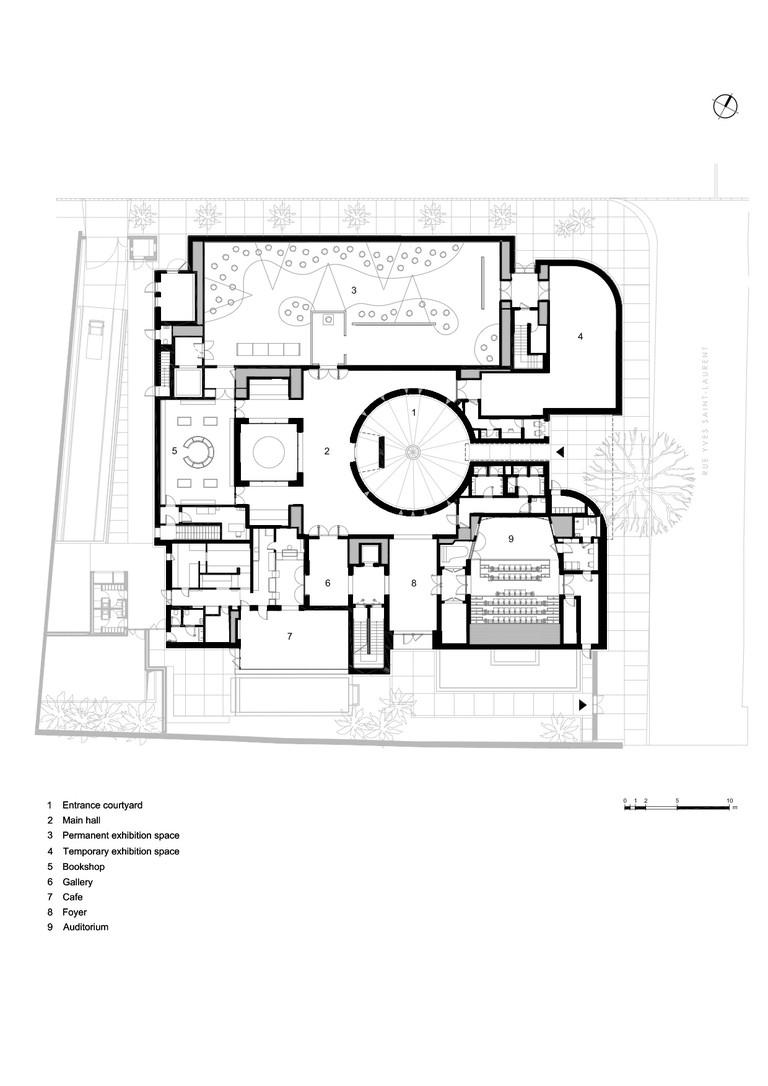 Ground-floor plan of the Musée Yves Saint Laurent Marrakech © 2016 Studio KO, Fondation Pierre Bergé – Yves Saint Laurent
