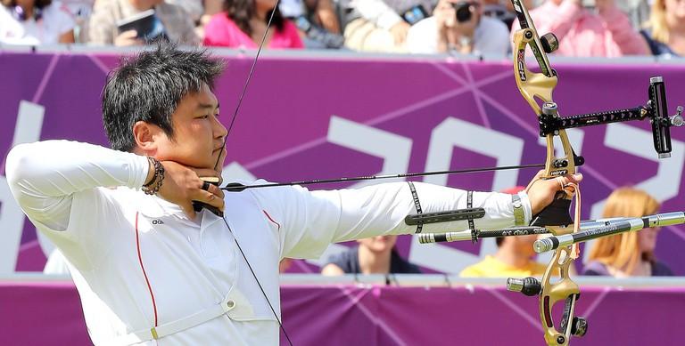 Korea Oh Jin Hyek won the gold medal in men's individual archery at London 2012