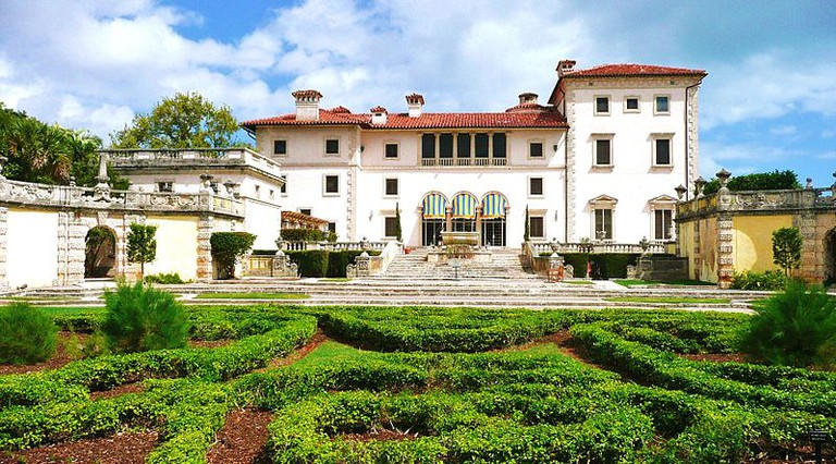 A view from the Italian gardens at the main house of the Vizcaya Villa