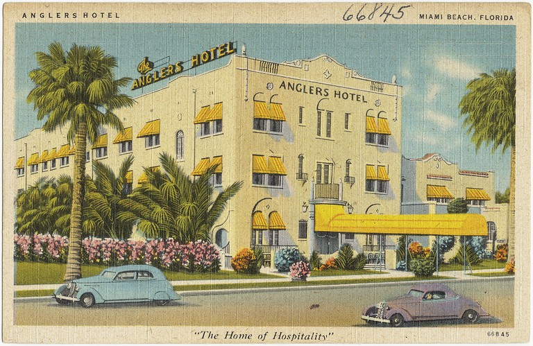 An old postcard featuring the Angler's Hotel, Miami Beach, circa 1935 | Boston Public Library/Flickr