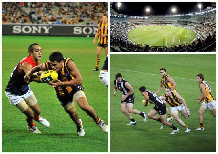 Hawthorn v Melbourne 2009 | © Tristen Murray / Flickr // The MCG at Night | © Sascha Wenninger / Flickr // Collingwood v Hawthorn 2010 | © Steve Davidson / Flickr
