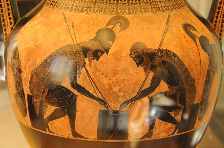 Attic amphora by Exekias depicting Achilles and Ajax playing a game during the Trojan War | © Jakob Bådagård/WikiCommons