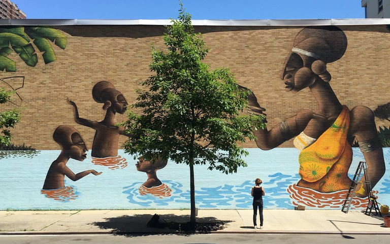 Mural by Alexandre Keto on 120th Street | © Not A Crime Campagin