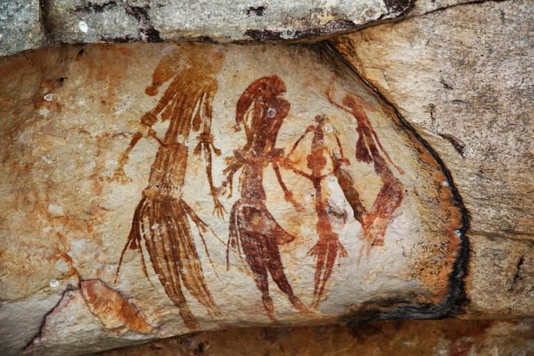 Bradshaw rock paintings in the Kimberley region of Western Australia, taken at a site off Kalumburu Road near the King Edward River. | © TimJN1 / WikiCommons