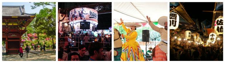 Nezu Shrine | © WikiCommons / Tokyo Game Show | © WikiCommons / Mexican fiesta | © Larry Lamsa/Flickr / Shrine Festival | © WikiCommons