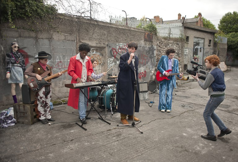 Filming a music video for real in Sing Street (Lionsgate)
