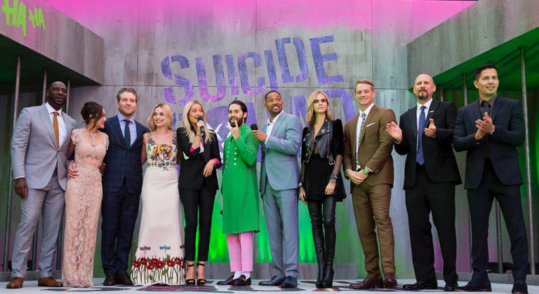 Adewale Akinnuoye-Agbaje, Karen Fukuhara, Jai Corntney, Margot Robbie, Laura Whitmore, Jared Leto, Will Smith, Cara Delevingne, Joel Kinnaman, David Ayer and Jay Hernandez attend the European Premiere of 'Suicide Squad' at London's Leicester Square. 3 August 2016