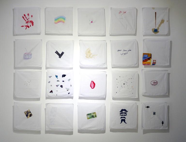 Virginity Kerchiefs, 2013, installation | Courtesy of Zawyeh Gallery