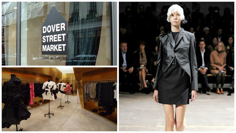 The original Dover Street Market in London   © Denna Jones/Flickr / A look from Comme des Garcons Spring 2011 collection   © Beauty Architect/Flickr / Inside Comme des Garcons's Future Systems shop in NYC   © Forgemind/Flickr
