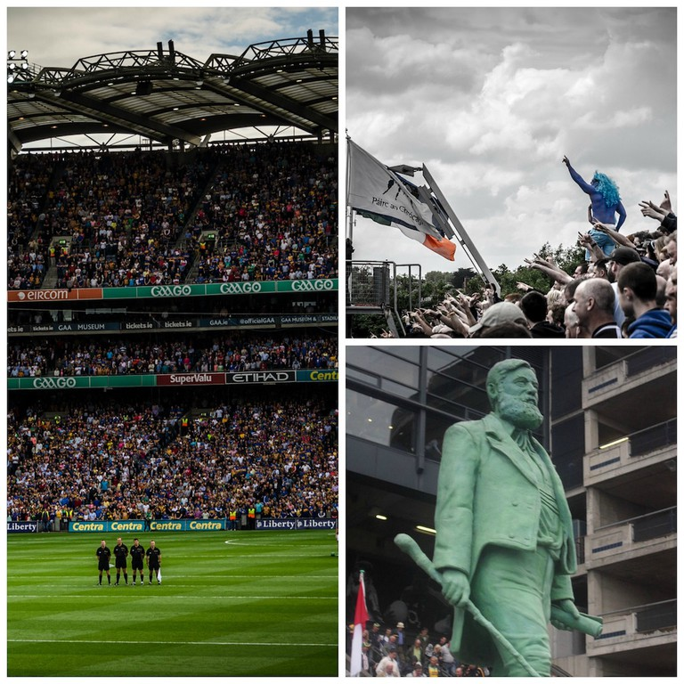 All-Ireland Hurling Final, Croke Park/ TheBlue Man at Hill 16  © Florian Christoph / Statue of Cusack in Croke Park   © EamonnPKeane/WikiCommons