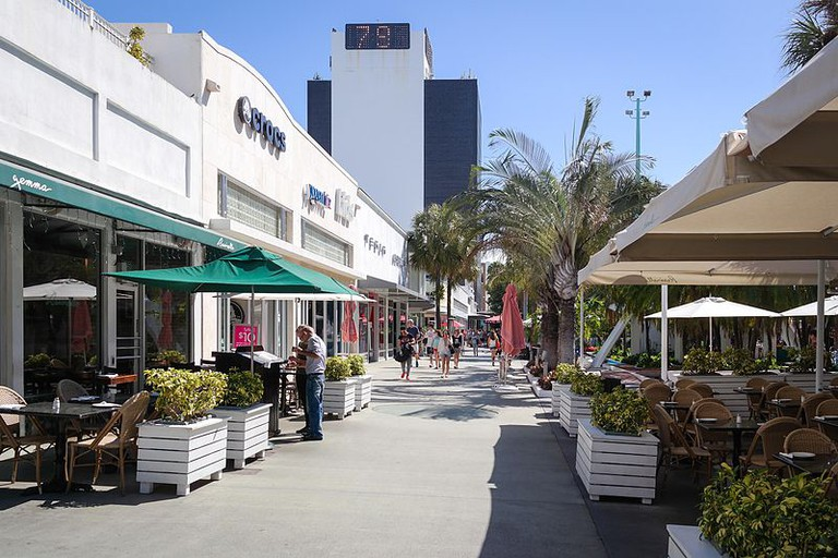Looking down Lincoln Road, lined with retailers and restaurants that cater to locals and tourists alike
