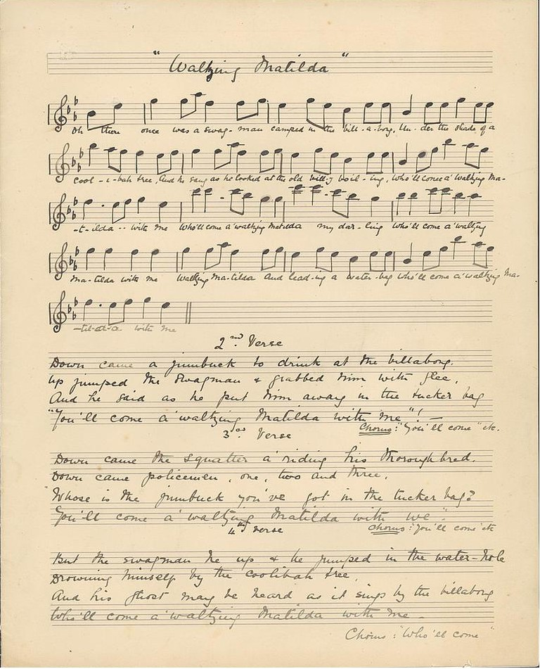 Original Waltzing Matilda manuscript 1895 | © Christina Macpherson / WikiCommons
