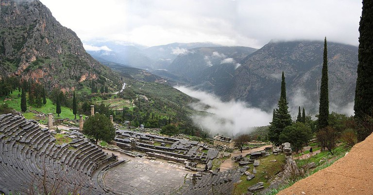 Panoramic view of the Apollo Temple in Delphi