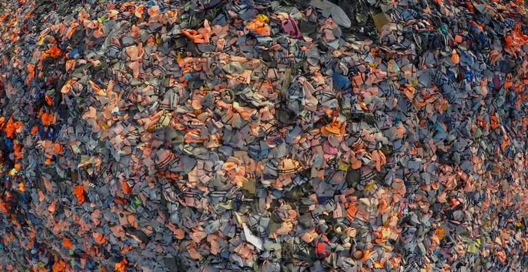 Life Jackets from above on Lesbos   Courtesy of Skye Fitzgerald