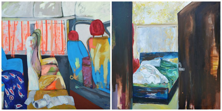 Intimate Space XIII, 2016 and Intimate Space IV, 2014, acrylic on canvas | Courtesy of Zawyeh Gallery