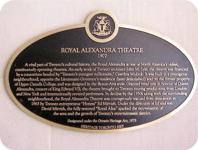 Royal Alexandra Theatre Plaque | © Alan L Brown via Toronto Plaques
