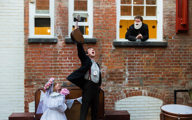 lare Beresford, Dominic Conway and Alexander Scott in 'Extravaganza Macabre' by Little Bulb Theatre|©Alex Brenner/Battersea Arts Centre