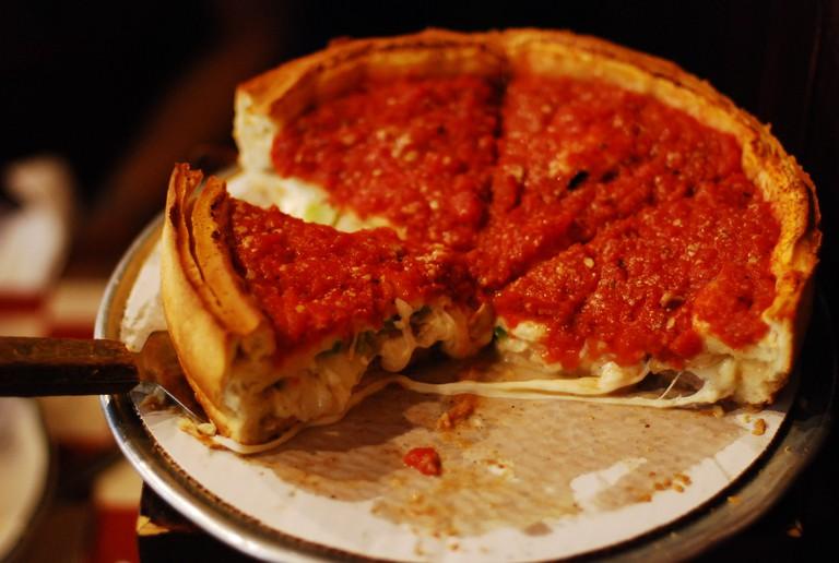 Giordano's deep dish pizza, courtesy of Wikimedia Commons