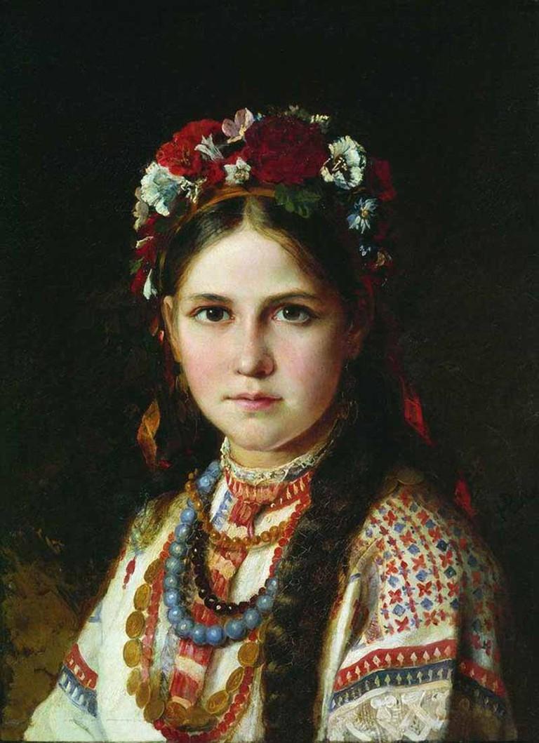 The traditional Vinok, worn in Ukraine