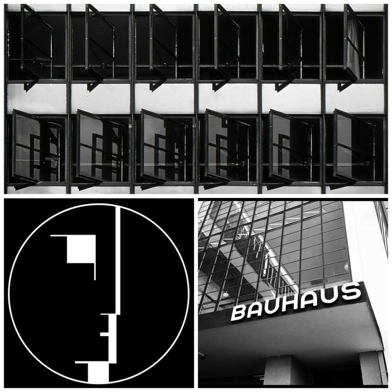 Dessau: Bauhaus Windows   © Harold Selke/Flickr / Bauhaus-Signet   © Lucano/WikiCommons / The Bauhaus Dessau   © Justin Kelly/Flickr