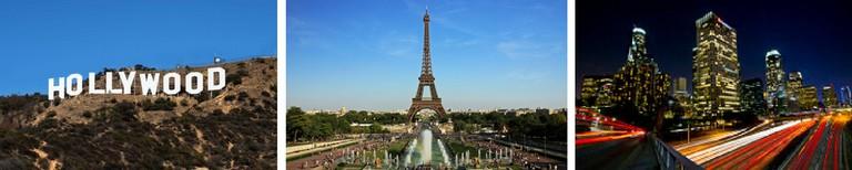 Hollywood sign © Wikimedia/Thomas Wolf, Eiffel Tower © Wikimedia/NonOmnisMoriar, Downtown L.A. © Flickr/ neontommy