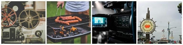 Film | © Pexels / Barbecue | © Pexels / Film | © Pexels / Fisherman's Wharf | © Wendy Harman/Flickr