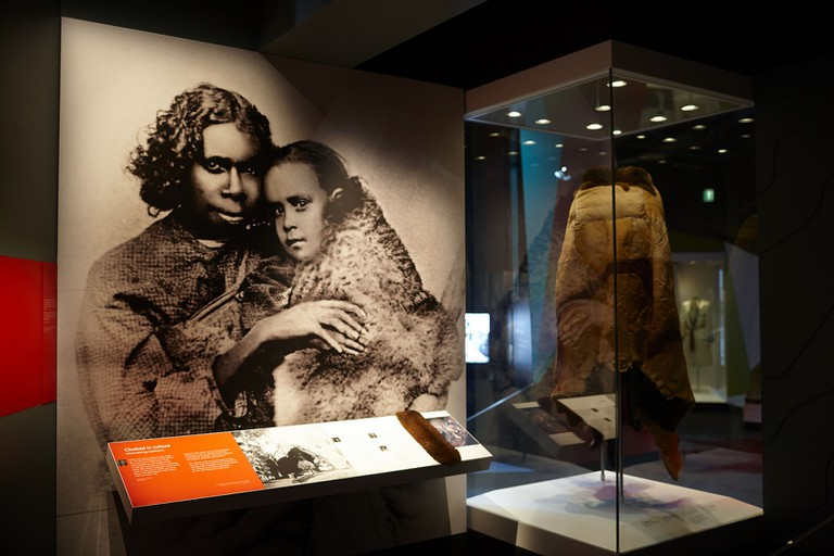 Possum skin cloak displays in 'Our Story' section of First Peoples exhibition at Bunjilaka, Melbourne Museum