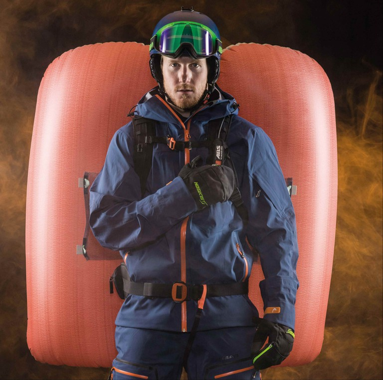 Ted Ligety and the ABS Avalanche Survival backpack | © ABS