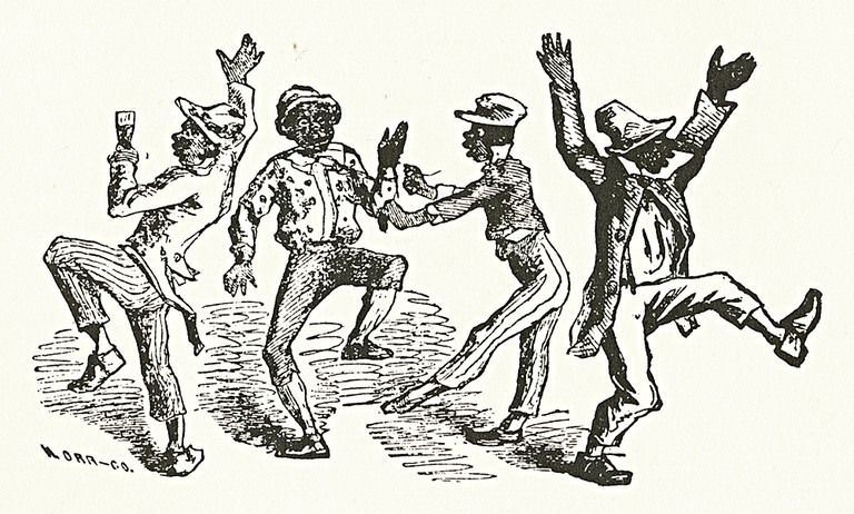 An illustration depicting Bryant's Minstrels, an American blackface minstrel troupe that performed in New York during the mid-19th century