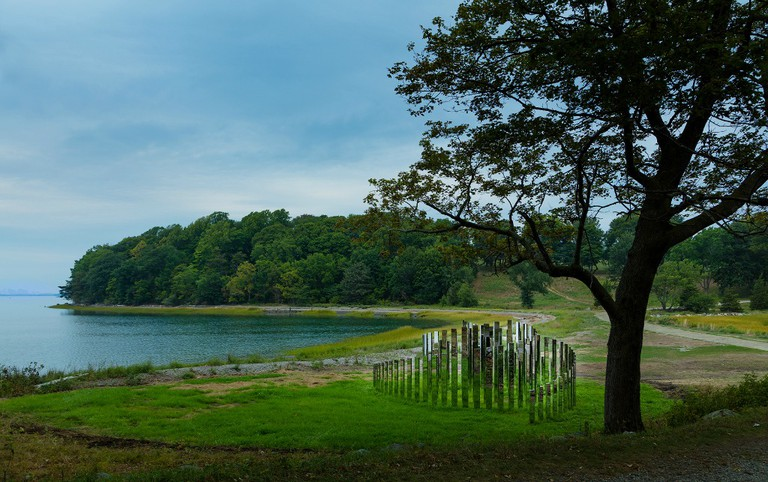 Installation view of Jeppe Hein, A New End, 2016, at World's End in Hingham, MA. Part of the Art and The Landscape series presented by The Trustees of Reservations. Photo by Warren Jagger, Courtesy of The Trustees.