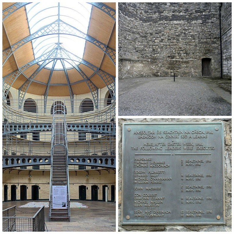 Kilmainham Gaol cells hall | © Velvet/WikiCommons / Site of executions at the goal |© Eweht/WikiCommons / Memorial plate in Kilmainham Gaol | © Paweł Drozd/WikiCommons