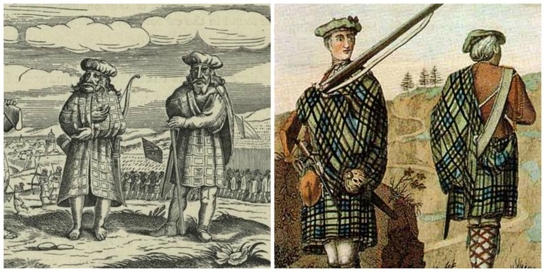 Early Depiction Of Highland Soldiers (1630) | © Kim Trainer/WikiCommons // Highland Soldier (1744) | © FastilyClone/WikiCommons