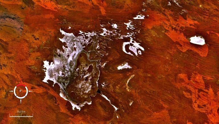 Lake Disappointment, Western Australia; Landsat image screen capture from NASA's World Wind program | © Zamphuor / WikiCommons